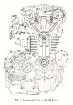 Motorcycle Engine Diagram Engineering Drawings and Cb K Engine Cross-Section Drawing Motor Engine, Motorcycle Engine, Motorcycle Art, Mechanical Engineering Design, Mechanical Design, Mechatronics Engineering, Architectural Engineering, Industrial Engineering, Environmental Engineering