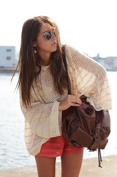 oversized sweater top #slouchy #summer #knits #vacay #vacation #tourist #handbag #bags #shorts #coral #effortless #weekend #casual #chic #style #outfit #fashion #simple #sunglasses