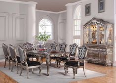 Acme Chantelle 9PC Dining Room Set in Antique Platinum - All Dining Sets - Dining Sets by Dining Rooms Outlet