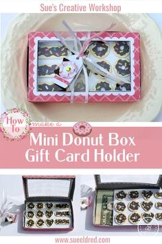 How to make a Mini Donut Box Gift Card/Money Holder. Designed by Sue's Creative Workshop www.sueeldred.com @jointhemakersmovement #donutbox #diy #papercrafting #gift Gift Cards Money, Money Holders, Mini Donuts, Creative Workshop, Decoration, Card Holder, Diy, Paper Crafts, Summer