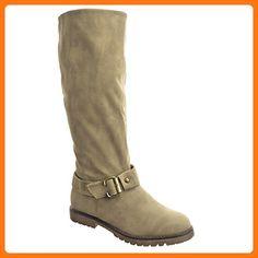Sopily - damen Mode Schuhe Stiefel Reitstiefel - Kavalier Schleife Schuhabsatz Blockabsatz - Khaki FRF-P237 T 40 - UK 7 (*Partner Link)