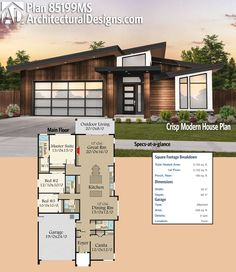 Architectural Designs Modern House Plan 85199MS gives you over 2,100 square feet of heated living space. Ready when you are. Where do YOU want to build?