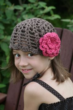Girl's summer crochet hat  Brown with Pink flower by Woolnsheeps, $15.00