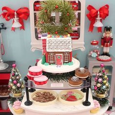 Christmas In July, Christmas Music, Merry Christmas, Elf Door, Girl Dolls, Coffee Shop, Bakery, American Girls, Table Decorations