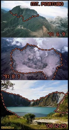 Mt. Pinatubo, before, during, and after eruption. I remember seeing the huge volcano cloud from a distance. I got to experience a historical geological event.