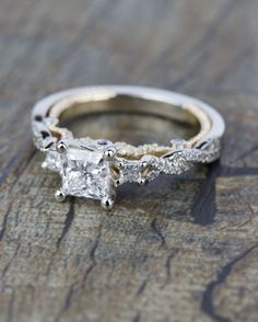 Check out the detail of this beautiful Custom Two-Tone Princess Diamond Engagement Ring!