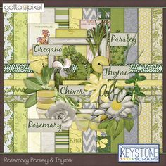 Rosemary Parsley and Thyme Digital Scrapbook Kit. $4.99 at Gotta Pixel. www.gottapixel.net/