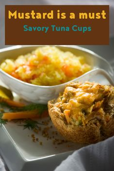 These savory tuna cups make the perfect grab and go lunch. Tuna Recipes, Potluck Recipes, Seafood Recipes, Appetizer Recipes, Great Recipes, Breakfast Recipes, Snack Recipes, Mustard Recipe, Lunch To Go