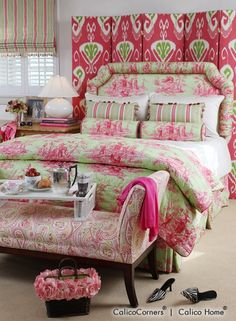 Think Pink Fabric Collection - custom Upholstered Screen in Bansuri fabric, color Peony; upholstered headboard & neckroll pillow in Toile Shanghai fabric, color Bermuda; shams & fitted coverlet in Chelsea Washed fabric, color Natural; rectangular pillow in Long Hill fabric, color Chiffon