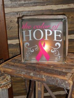 COLOR OF HOPE glass block light by MeCasaCreations on Etsy, $29.00