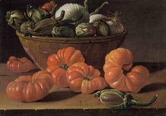"Luis Meléndez, (Spanish, 1715-1780), ""Still Life with Tomatoes, a Bowl of Aubergines, and Onions"""