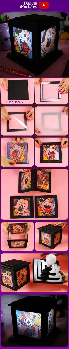 Faça você mesmo uma linda luminária do Mickey e da Minnie, feita com papel pluma e spot de lâmpada, fica perfeito na decoração, abajur, Dany Martines , DIY, do it yourself