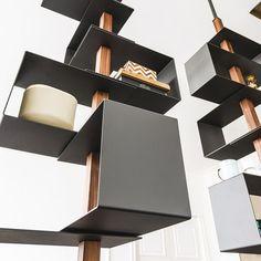 Open floor-ceiling mounted bookcase TOKYO - @ccattelan