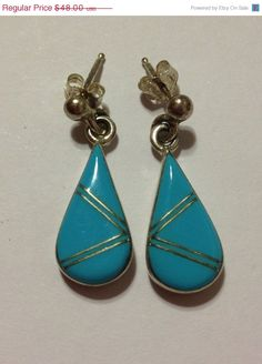 ON SALE Navajo Sleeping Beauty Turquoise Earrings Sterling Silver Vintage Tribal Southwestern Jewelry Christmas Holiday Gift 925 Xmas Blue on Etsy, $43.20