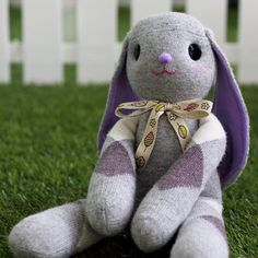 Sew a Lop Eared Bunny from sock. You need a pair of crew length sock and another matching colored sock. Instructions come with pictures.