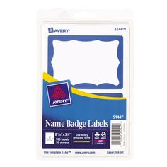 Avery Blue Border Print or Write Name Badge Labels 2.34 x 3.37 Inches Pack of... #Avery