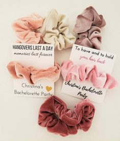bachlorette party ideas Hair scrunchies are the perfect bachelorette party favor! We customize the packaging with your bachelorette party details as an added the number of scru Bachlorette Party, Bachelorette Party Shirts, Bachelorette Party Decorations, Bachelorette Weekend, Bachelorette Ideas, Bachelorette Party Playlist, Bachelorette Slumber Parties, Bachelorette Party Pictures, Bachelorette Cupcakes