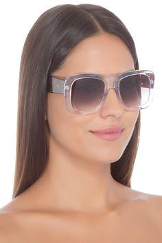 Óculos Olga Solar Cristal + Demi Folhado Livo - Branco 701415c2e7