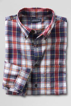 Men's Long Sleeve Aged Navy Madras Shirt from Lands' End