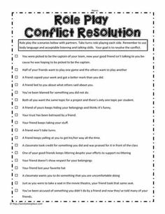 Role Play Scenarios For Conflict Resolution Social Work Activities, Communication Activities, Social Skills For Kids, Problem Solving Activities, Activities For Teens, Counseling Activities, Elementary Counseling, Career Counseling, Elementary Schools
