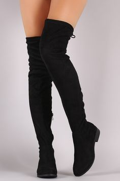 These stunning boots feature an over the knee silhouette, stacked block heel, and an adjustable drawstring tie at collar for custom fit. Flat Boots, High Heel Boots, Heeled Boots, Thigh High Boots Flat, Botas Sexy, Unique Shoes, Cute Boots, Fashion Boots, Emo Fashion