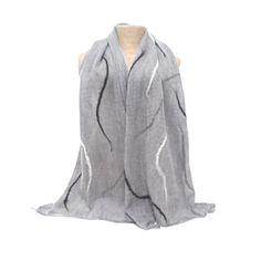 Natural grey merino wool nuno felted silk scarf £25.00