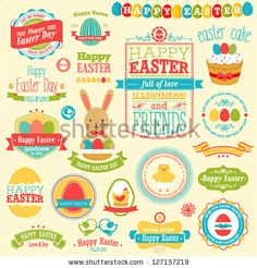 Easter set - labels, ribbons and other elements. Vector illustration. #Easter Inspiration from Shutterstock http://www.webdesign.org/easter-inspiration-from-shutterstock.22414.html