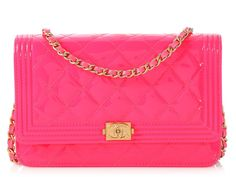 8217afa464846 Chanel Neon Pink Boy Wallet on a Chain WOC Gold Hardware