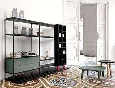 The Punt Literatura Open storage units are highly versatile and can be customised to include shelves, drawers and cupboard units. The Literatura Open unit is really brought to life by the mobile element at the front Open Bookcase, Bookcase Shelves, Storage Shelves, Storage Units, Muebles Home, Muebles Living, Milan Furniture, Modern Furniture, Furniture Design