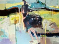 """Abstract Artists International: Abstract Figurative Art Painting """"On Her Coat Tails"""" by Intuitive Artist Joan Fullerton"""