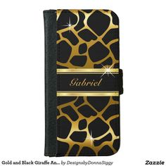 #Sold Gold and Black #Giraffe Animal Print #iPhone 6 #Wallet #Case  #zazzle #trendy #shopping
