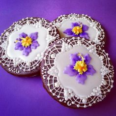 Lace and Hibiscus Cookies