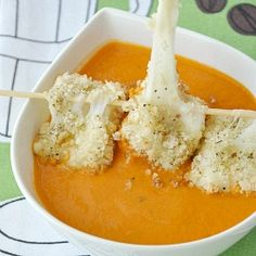 Grilled Cheese Mozzarella Balls and Creamy Tomato Soup