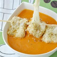 Grilled Cheese Mozzarella Balls and Creamy Tomato Soup