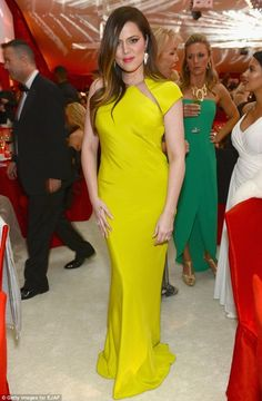 Khloe Kardashian at the academy awards viewing party FEB 24, 12 Wearing : Kaufman Franco Fall 2012 One-Shoulder Gown
