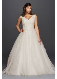 Plus Size Tank Tulle Wedding Dress with Lace  9WG3797 Davids bridal