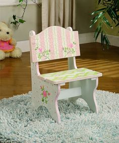 Take a look at this Pink Lace & Crackled Rose Mini Chair by Teamson Design on #zulily today!