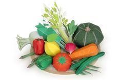 Papercraft de un conjunto de verduras.