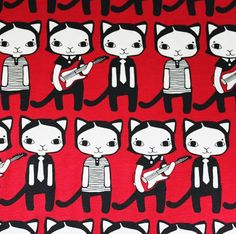Leena Renko Red Guitar Cat organic jersey x Indie Brands, Printing On Fabric, Organic Cotton, Kids Outfits, Print Design, Snoopy, 1, Prints, Print Fabrics