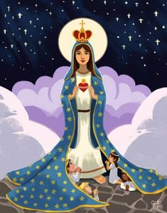 This was an illustration I did before that I forgot to post here. Mama Mary, Queen of Heaven and Earth Mama Mary, Mary I, Mary And Jesus, Holy Mary, Jesus Mother, Blessed Mother Mary, Blessed Virgin Mary, Catholic Art, Religious Art