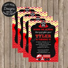 Fire Fighter Birthday Party Invitation