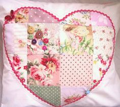 patchwork cushion with buttons!