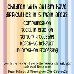 #Children with #autism have difficulties in 5 main areas: #Communication, #Social Interaction, #SensoryProcessing, #Repetitive #Behavior, Information #Processing. Contact us to learn how #BrainBalance can help your #child in all these areas. #ASD #acceptance #autismacceptance #awareness #autismawareness #love #autismlove #SPD #sensoryprocessingdisorder #Birmingham #MI #brainbalance #addressthecause