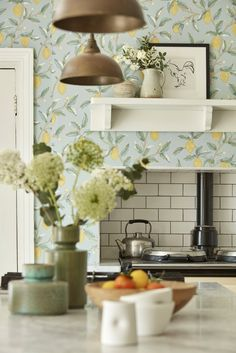 Inspired by the lemons in Fruit one of William Morris's most loved wallpapers Lemon Trees chalky white print mark adds detail to trailing branches and delicate blossom creating this fresh and calming design. William Morris Wallpaper, Morris Wallpapers, Tree Wallpaper, Wallpaper Samples, Kitchen Colors, Kitchen Tile, Design Kitchen, Painted Rug, Interior Paint Colors