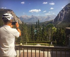 Safety first! This #samesunbanff guest knows what's up on this week's bike tour of Banff, so come on over and check out some awesome scenery #banff #alberta #canada #views #mountains #river