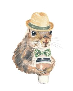 Title: Squirrels Love Coffee No.34 This is my 34th coffee swilling squirrel and I have plenty more ideas to come. Coffee and squirrels just