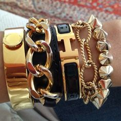 ✨ Fashion Jewelry & Accessories ✨ Bracelets, Bangles & Watches ✨ Black and Gold Hermes arm candy Hermes Armband, Hermes Bracelet, Gold Bracelets, Layered Bracelets, Stack Bracelets, Hermes Jewelry, Layered Jewelry, Jewelry Box, Jewelry Accessories