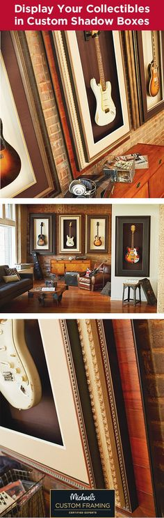 Display your guitar collection with custom shadow boxes that double as artwork. Hang your guitar directly in the shadow box and create a statement in your home. Choose from over 450 mouldings and 300 archival mats. Find out more about custom framing a gallery wall at your local Michaels store.