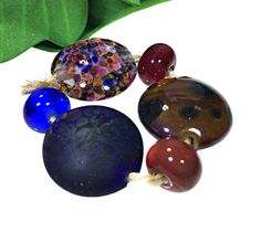 Multi-Color Handmade Lampwork Glass Beads From Murano Glass 6 Pcs #HandmadeLampworkBeads #Lampwork
