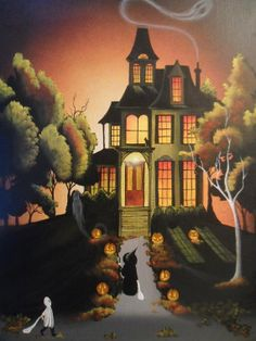Halloween Haunted House Print by MyEclecticMind1 on Etsy